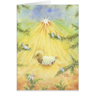Christmas Greeting Card Jesus In Manger With Doves