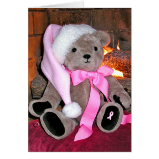 Christmas Greeting Card-Teddy bear in pink hat