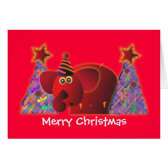 Christmas greeting cards: Red elephant 2 Card