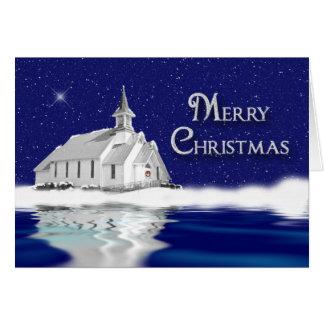 CHRISTMAS GREETING - CHRISTIAN - CHURCH - SNOW CARD
