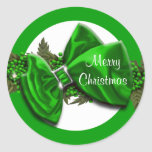 Christmas greeting seals green PERSONALIZE Round Stickers