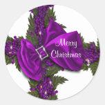 Christmas greeting seals purple PERSONALIZE Round Sticker