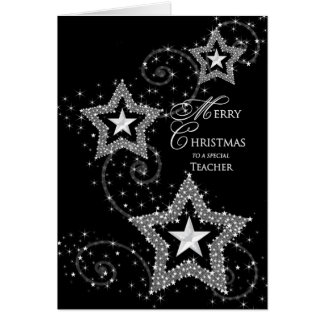 Christmas Greeting- Teacher -Sparkly Stars Greeting Cards