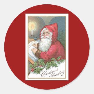 Christmas Greeting Vintage Santa Claus Classic Round Sticker
