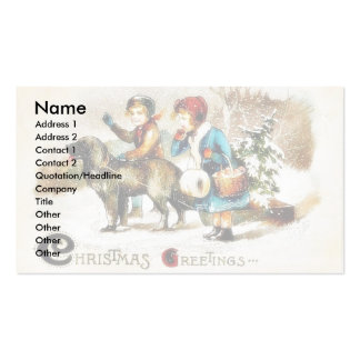 Christmas greeting with a boy and a girl going wit business cards