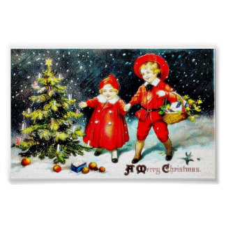 Christmas greeting with a boy and a girl looking a poster