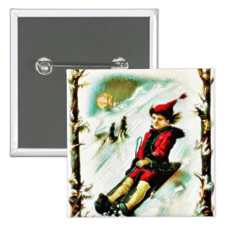 Christmas greeting with a boy snow slading buttons