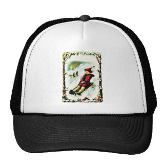 Christmas greeting with a boy snow slading hats