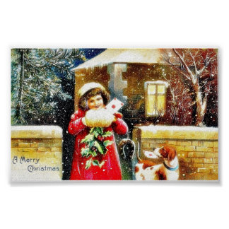 Christmas greeting with a girl opening her gift bo poster