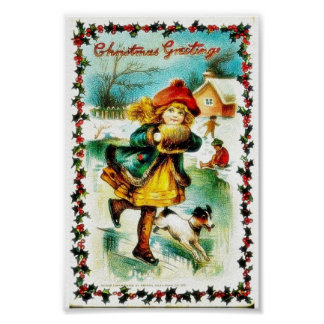 Christmas greeting with a girl walking with a dog poster