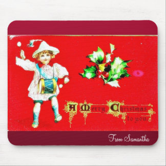 christmas  greeting with a gril beating a drum mouse pads