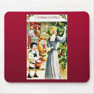 Christmas greeting with a guy beating drum and a l mousepads