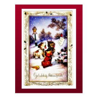 Christmas greeting with barking dog postcard
