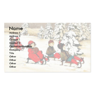 Christmas greeting with kids snow slading business cards