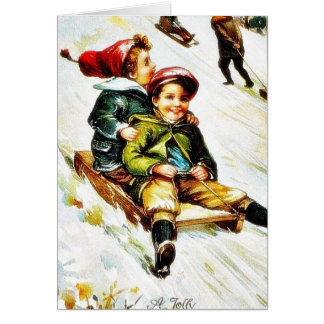 Christmas greeting with kids snow slading card