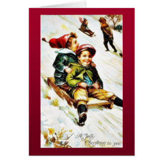 Christmas greeting with kids snow slading cards