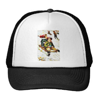 Christmas greeting with kids snow slading mesh hat