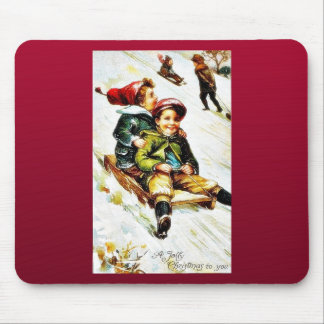 Christmas greeting with kids snow slading mouse pad