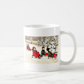 Christmas greeting with kids snow slading coffee mug