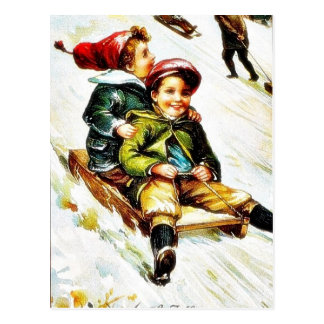 Christmas greeting with kids snow slading postcard