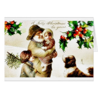 Christmas greeting with old man carrying a child a card