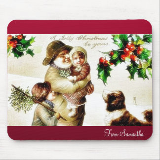 Christmas greeting with old man carrying a child a mouse pad