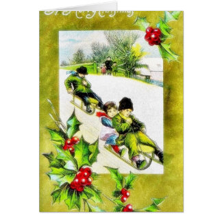 Christmas greeting with persons snow slading on th greeting card
