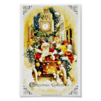 Christmas greeting with santa claus riding a cart poster