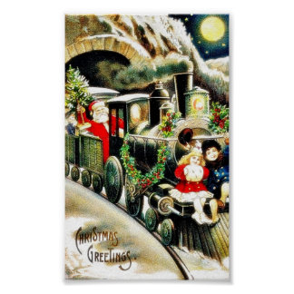Christmas greeting with santa claus travells in a poster