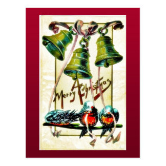 Christmas greeting with three bells and three bird postcard