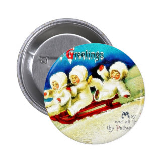 Christmas greeting with three kids snow slading pinback buttons