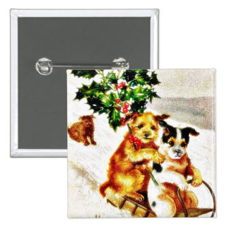 Christmas greeting with two dogs snow slading with pinback button