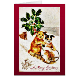 Christmas greeting with two dogs snow slading with greeting cards