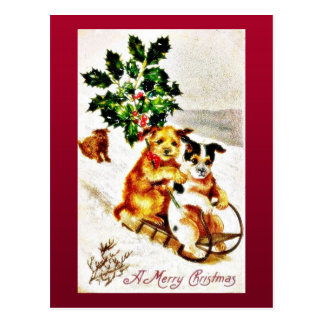 Christmas greeting with two dogs snow slading with postcard