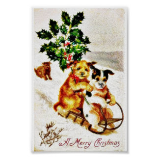 Christmas greeting with two dogs snow slading with print