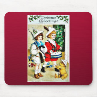 Christmas greeting with two kids, one plays drum a mouse pad