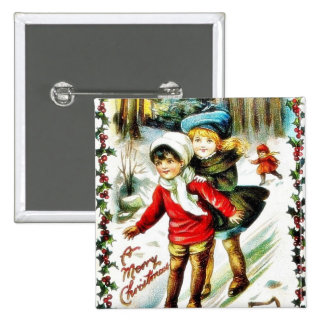 Christmas greeting with two kids snow slading in a pinback buttons