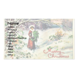 Christmas greeting with with lady carrying christm pack of standard business cards