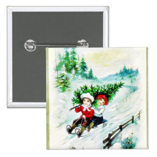 Christmas greeting with with two kids snow slading pin