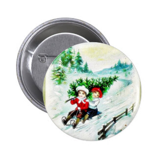 Christmas greeting with with two kids snow slading buttons
