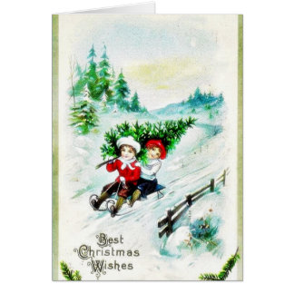 Christmas greeting with with two kids snow slading card