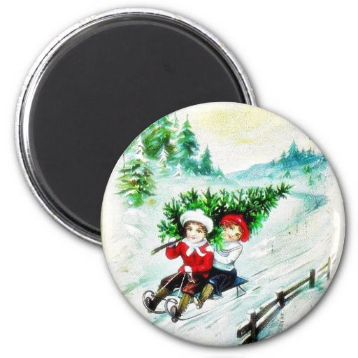 Christmas greeting with with two kids snow slading refrigerator magnet