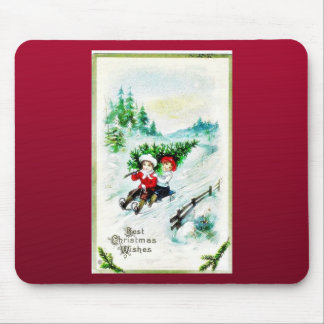 Christmas greeting with with two kids snow slading mouse pad