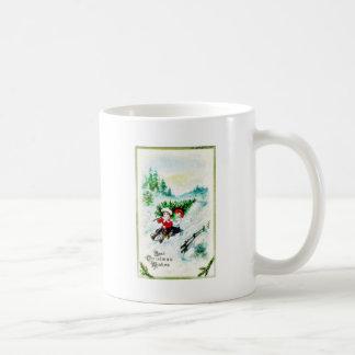 Christmas greeting with with two kids snow slading mug