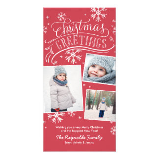 Christmas Greetings 3-Photo Snowflake Holiday Photo Cards