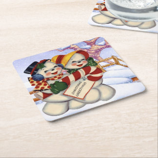 Christmas Greetings 3 Square Paper Coaster