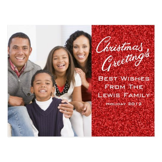 Christmas Greetings Card Template with Red Glitter