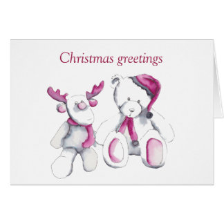 Christmas greetings from Rudolph and friend Card