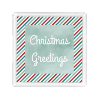 Christmas Greetings Green Holiday Acrylic Tray