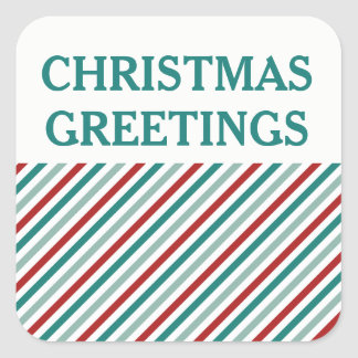 Christmas Greetings Green Holiday Sticker